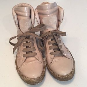 Brunello Cucinelli patent leather lace up sneakers